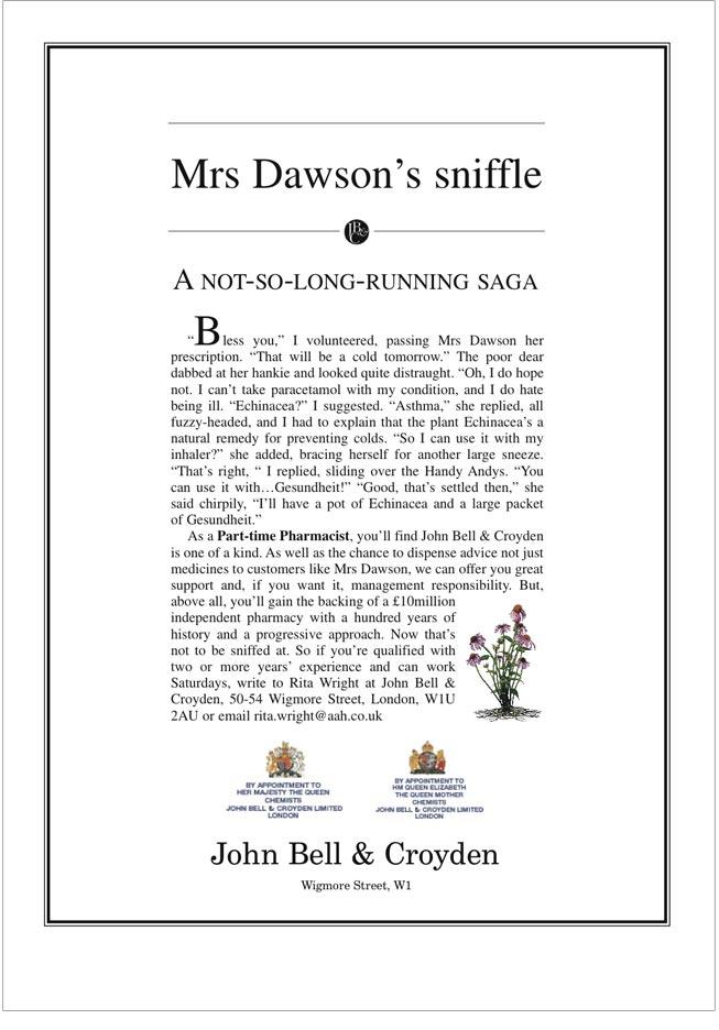 John Bell and Croydon - Advertisement